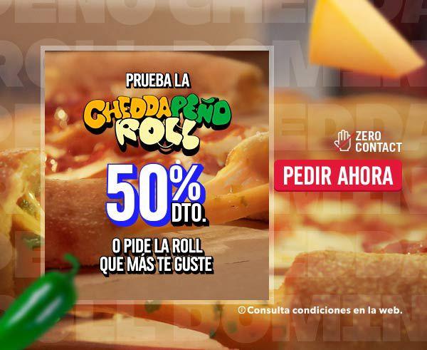 Dominos Pizzas Roll 50% descuento