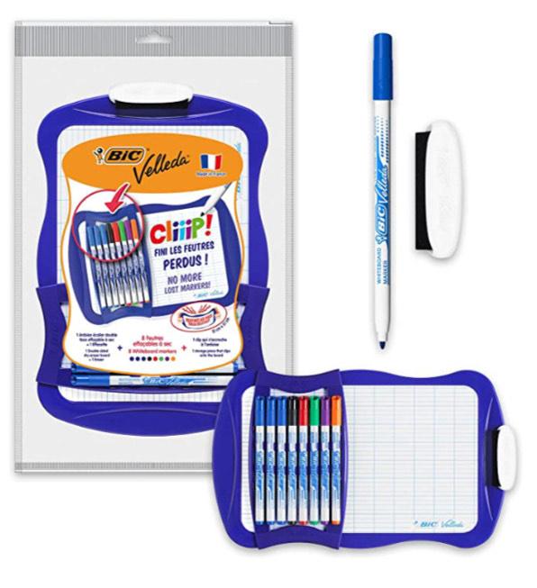 BIC Velleda Cliiip Set - Incluye pizarra blanca (21 x 31 cm), 8 rotuladores finos y borrador para actividades creativas en casa y el colegio