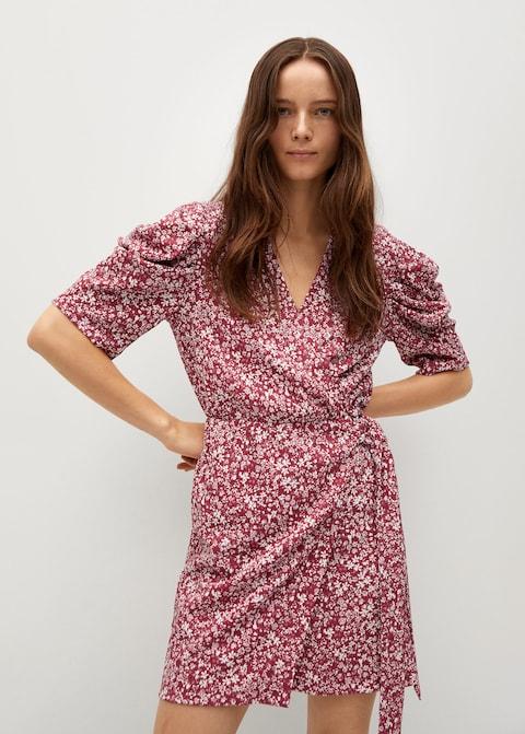 Vestido estampado manga abullonada