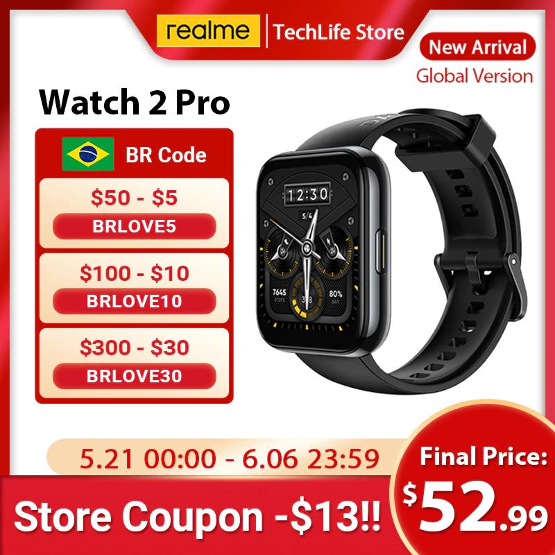 "Smartwatch realme 2 Pro Pantalla color 1,75 "", GPS, alta precisión, doble satélite, 90 modos deportivos, batería de 14 días"