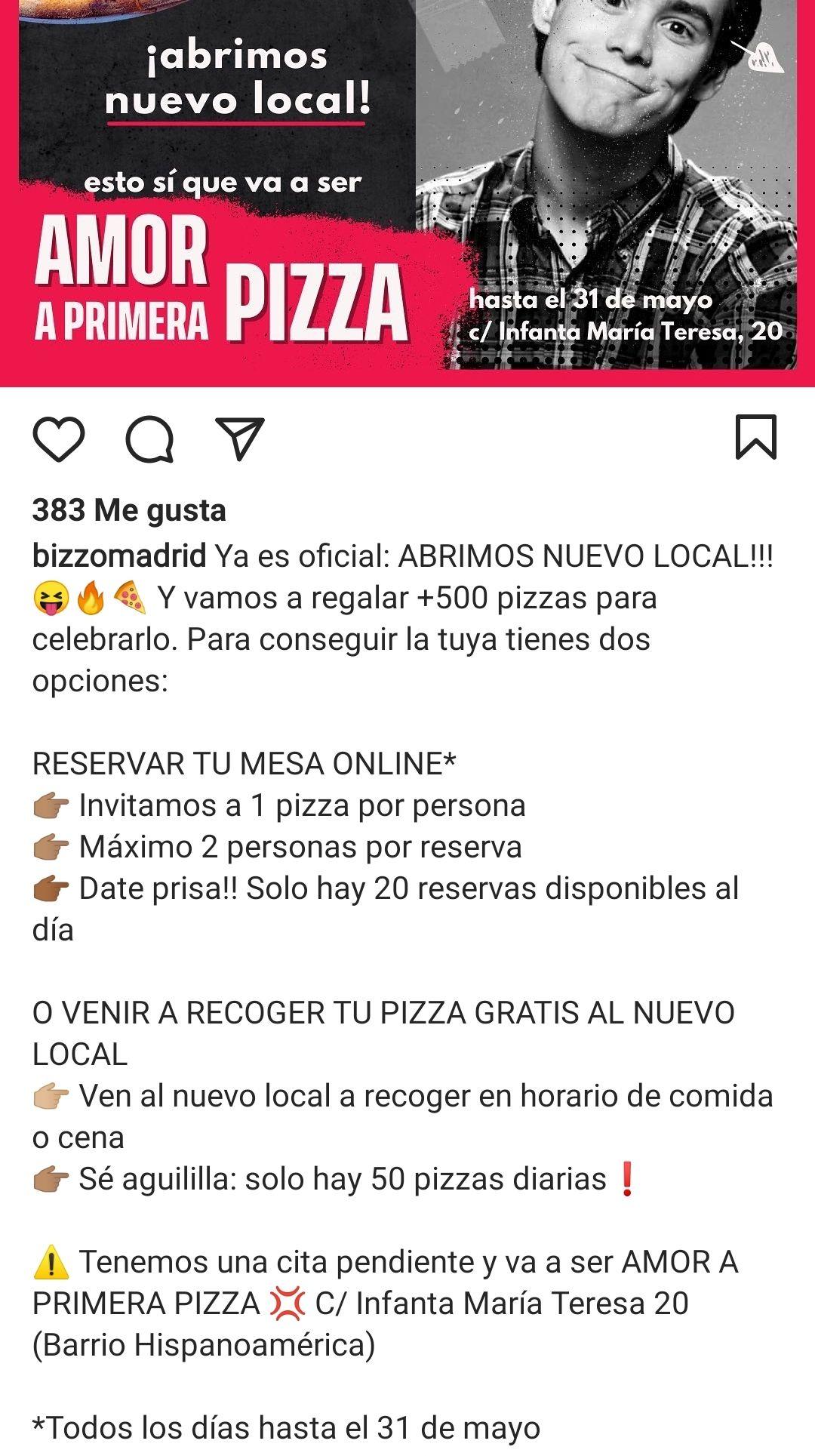 PIZZAS GRATIS HASTA 31 MAYO EN MADRID ( 70 al dia)