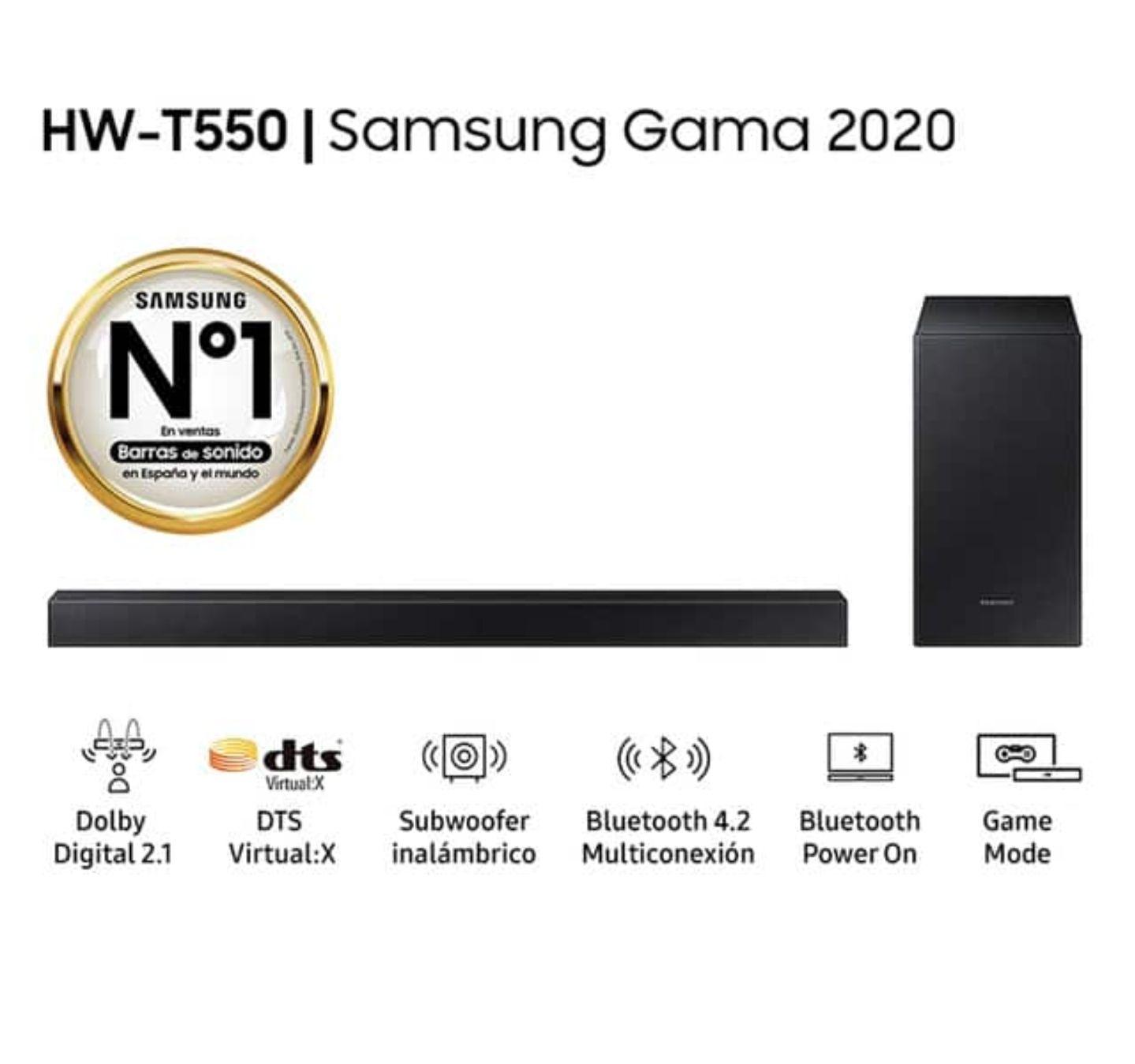 Barra de Sonido Samsung 2020 HW-T550 Dolby, DTS Virtual con Subwoofer inalámbrico y Bluetooth 4.2 multiconexión