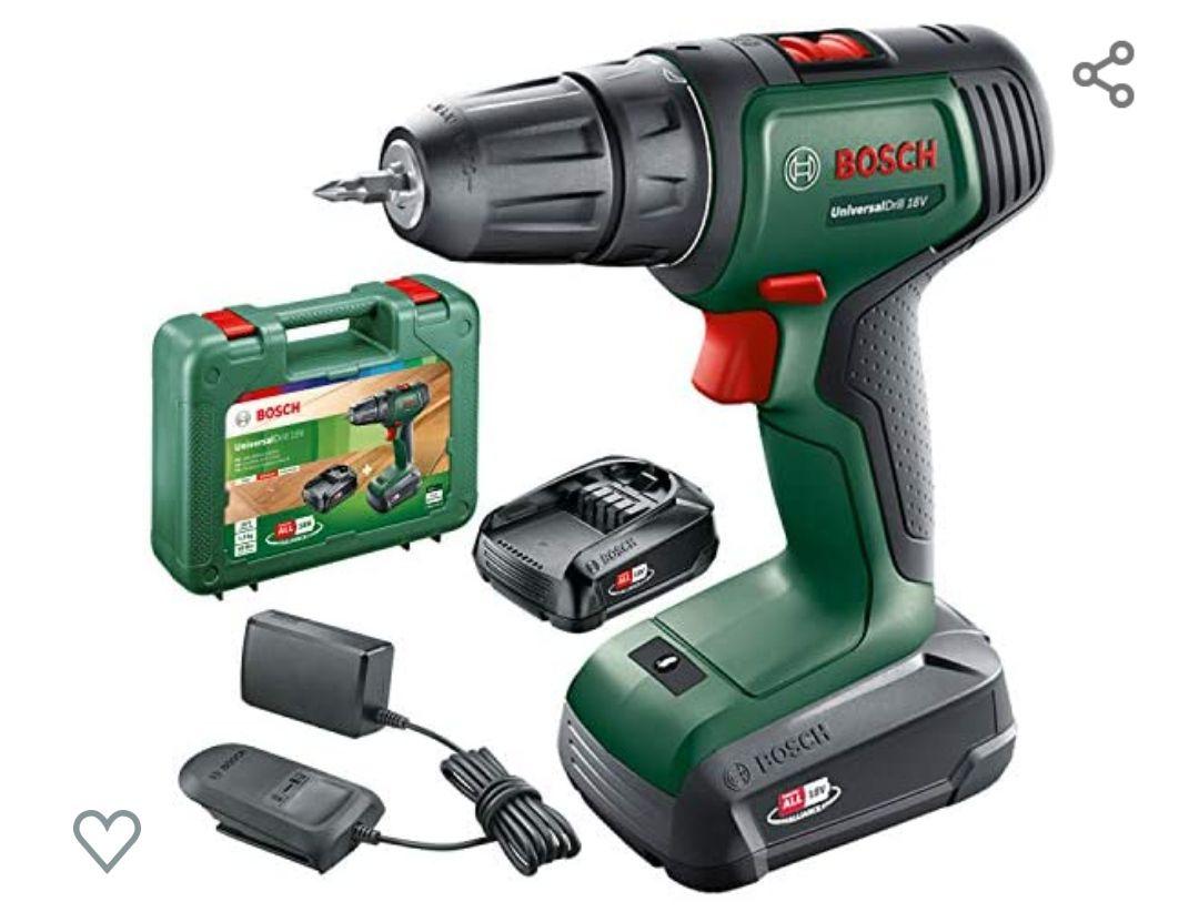 Bosch taladro/atornillador a batería UniversalDrill 18 + 2 baterías, sistema de 18V + maletín