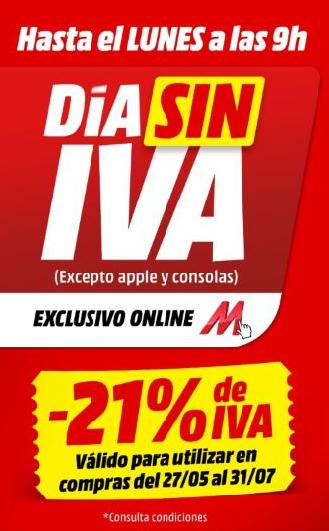Día sin IVA Mediamarkt (Acumulable en vale)