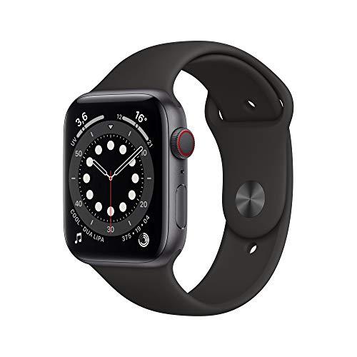 Apple Watch Series 6 (GPS + Cellular, 44 mm) Caja de Aluminio en Gris Espacial - Correa Deportiva Negra