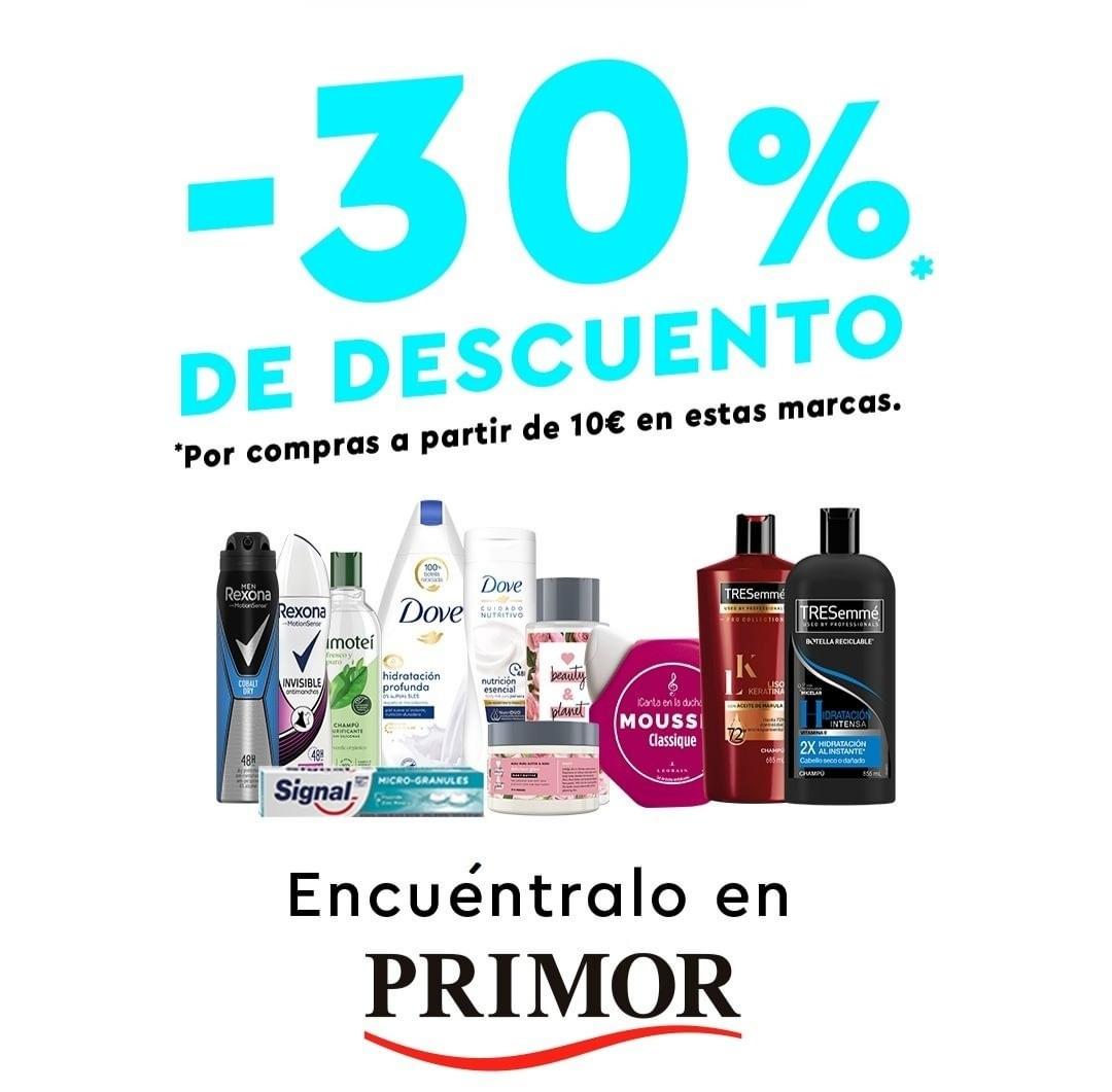 30% de descuento al hacer compra de 10 euros en algunas marcas