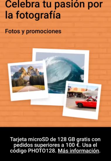 Tarjeta microSD gratis con una compra superior a 100€
