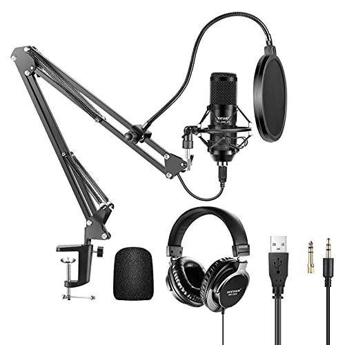 Neewer Kit Micrófono USB 192KHz / 24Bit con Auriculares con Monitor Tapa de Espuma Soporte para Brazo y Soporte de Choque