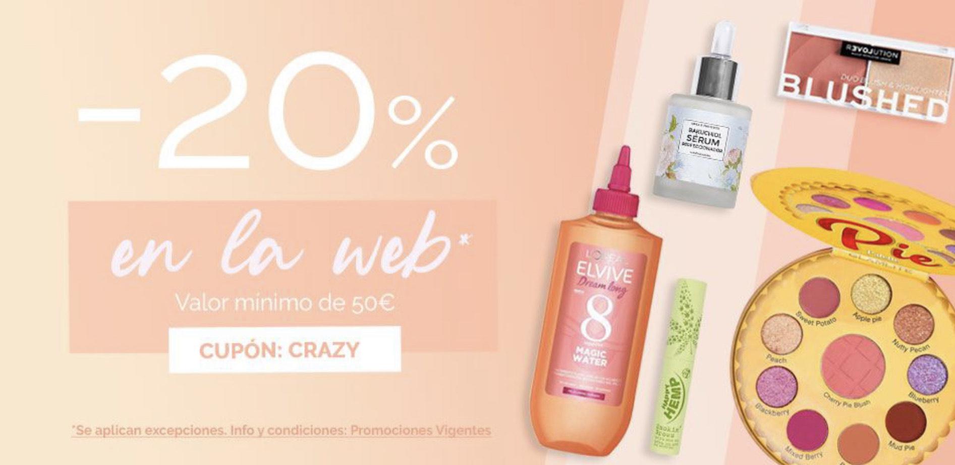 20% en pedidos >50€ en la web de Maquillalia