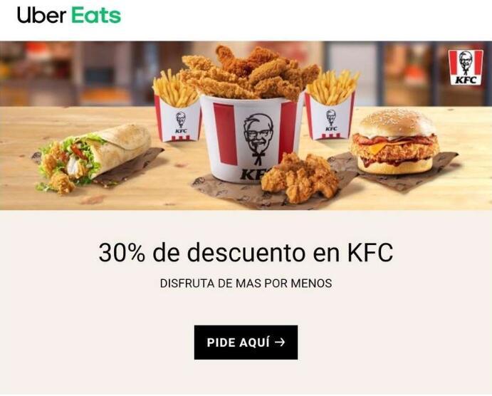 Uber Eats 30% KFC en selección de menús.