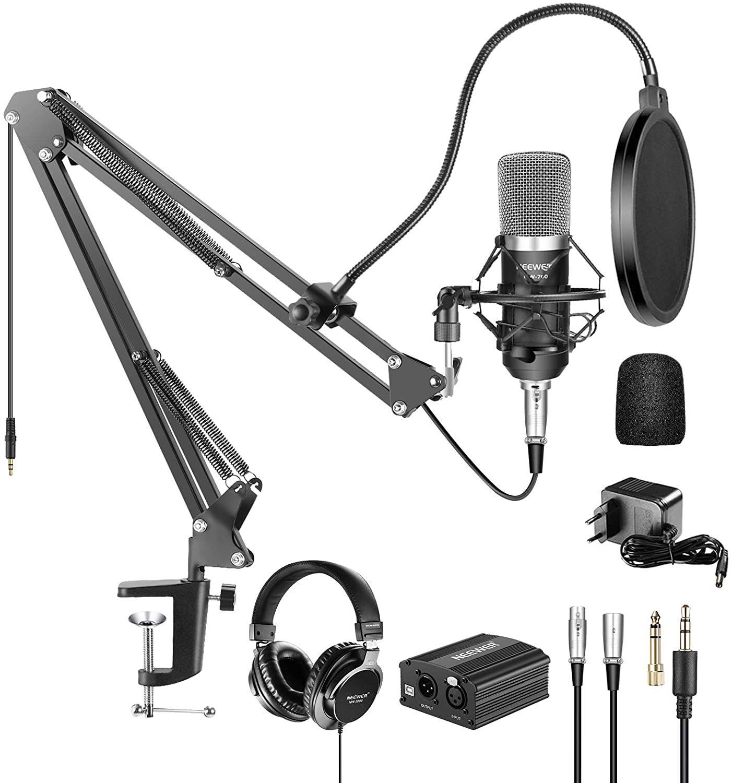 Neewer NW-700 Pro Micrófono de Condensador y Auriculares de Monitor con 48V Phantom Fuente de Alimentación