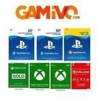 -13% GAMIVO - PSN50- 37€, XBOX50 - 38€, NSO 1y Normal 13€, familiar 25€, XBOX 1y a 39€