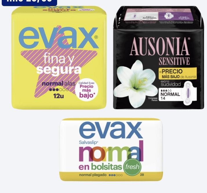 Compresas / salvaslips Evax/Ausonia en Aldi