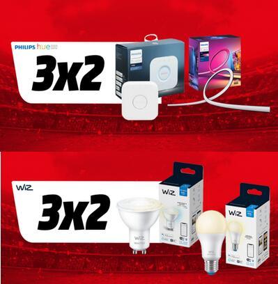 3x2 en domótica de Philips Hue y en Wiz