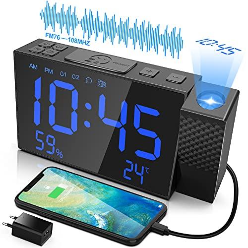 Reloj despertador con proyector y más