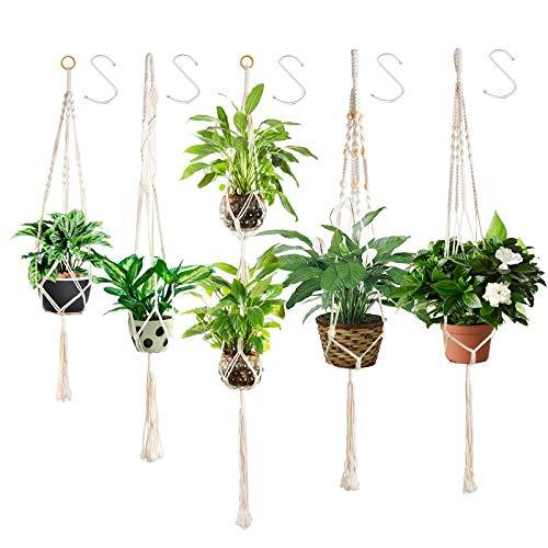 5+1 Colgador para Plantas Macramé Planta Percha Maceta Colgantes para Plantas Maceta Cuerda de Algodón