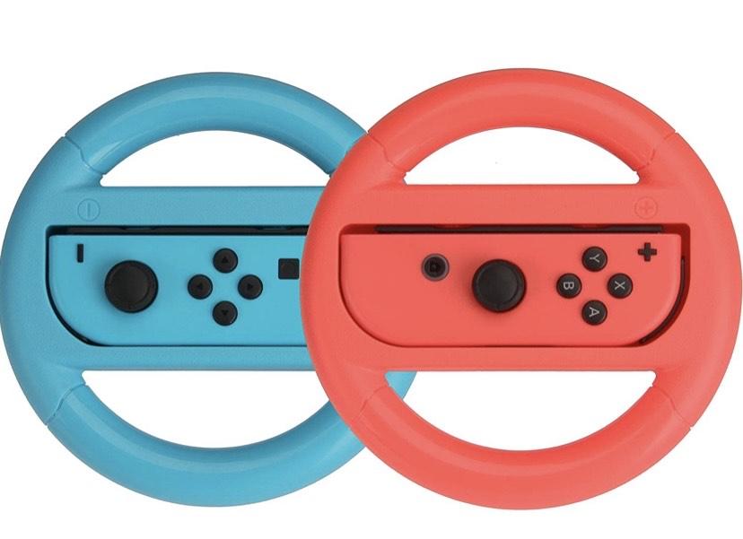 Amazon Basics - 2Volantes para Nintendo Switch - Azul/Rojo (pack de 2)