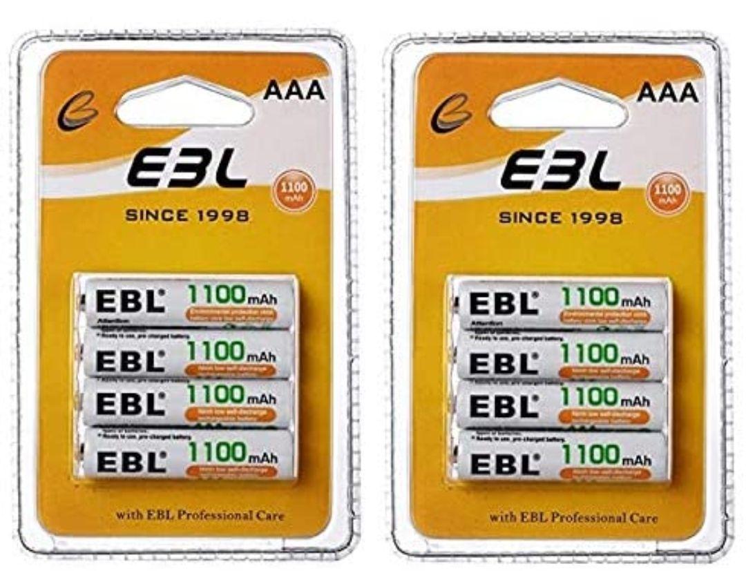 8 pilas AAA recargables EBL de 1.100 mAh por solo 6,16€