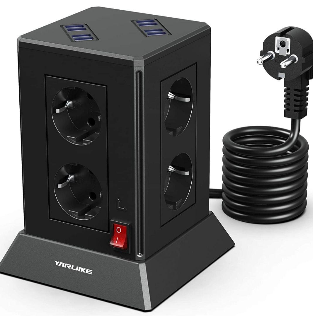 Torre Enchufes 8 Tomas de corriente + 8 Rápida USB, con Protección contra Sobrecargas