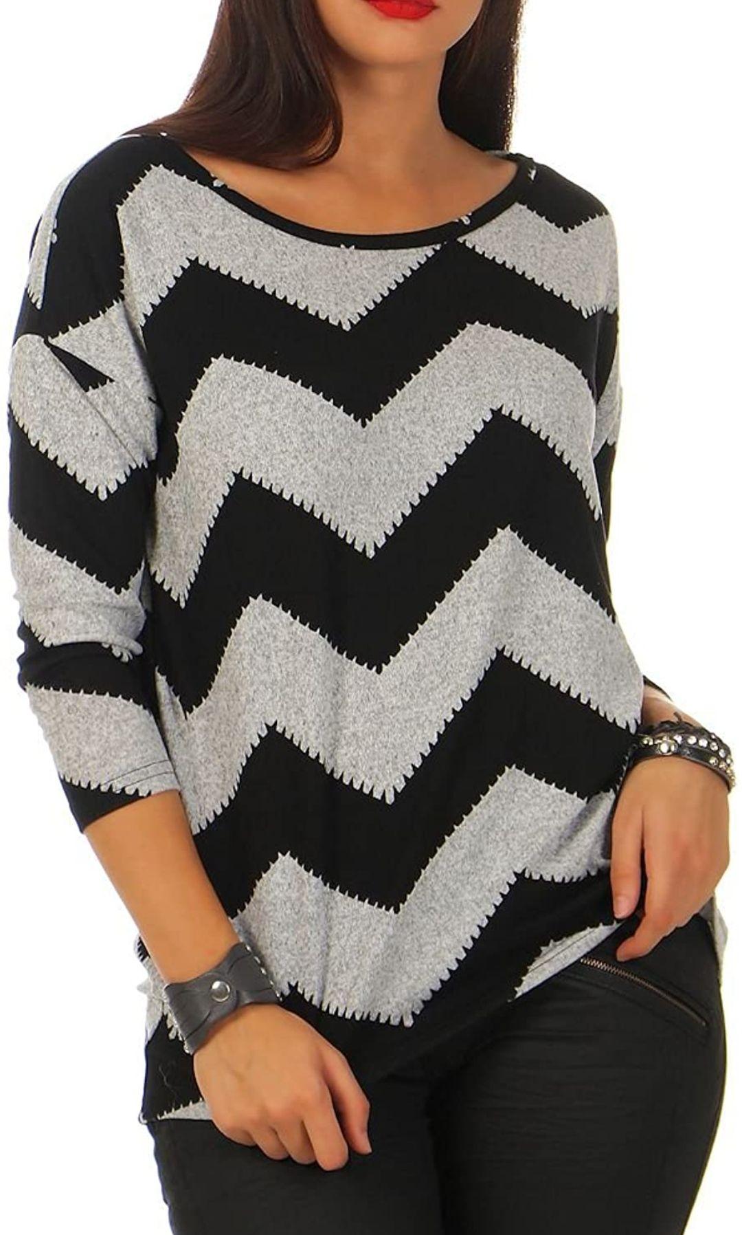 Camiseta Only con diseño zigzag y manga 3/4 para mujer. Todas las tallas.