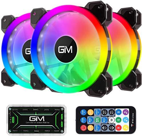 Ventilador de Carcasa RGB de 120 mm, Paquete de 3, Kit 3 en 1
