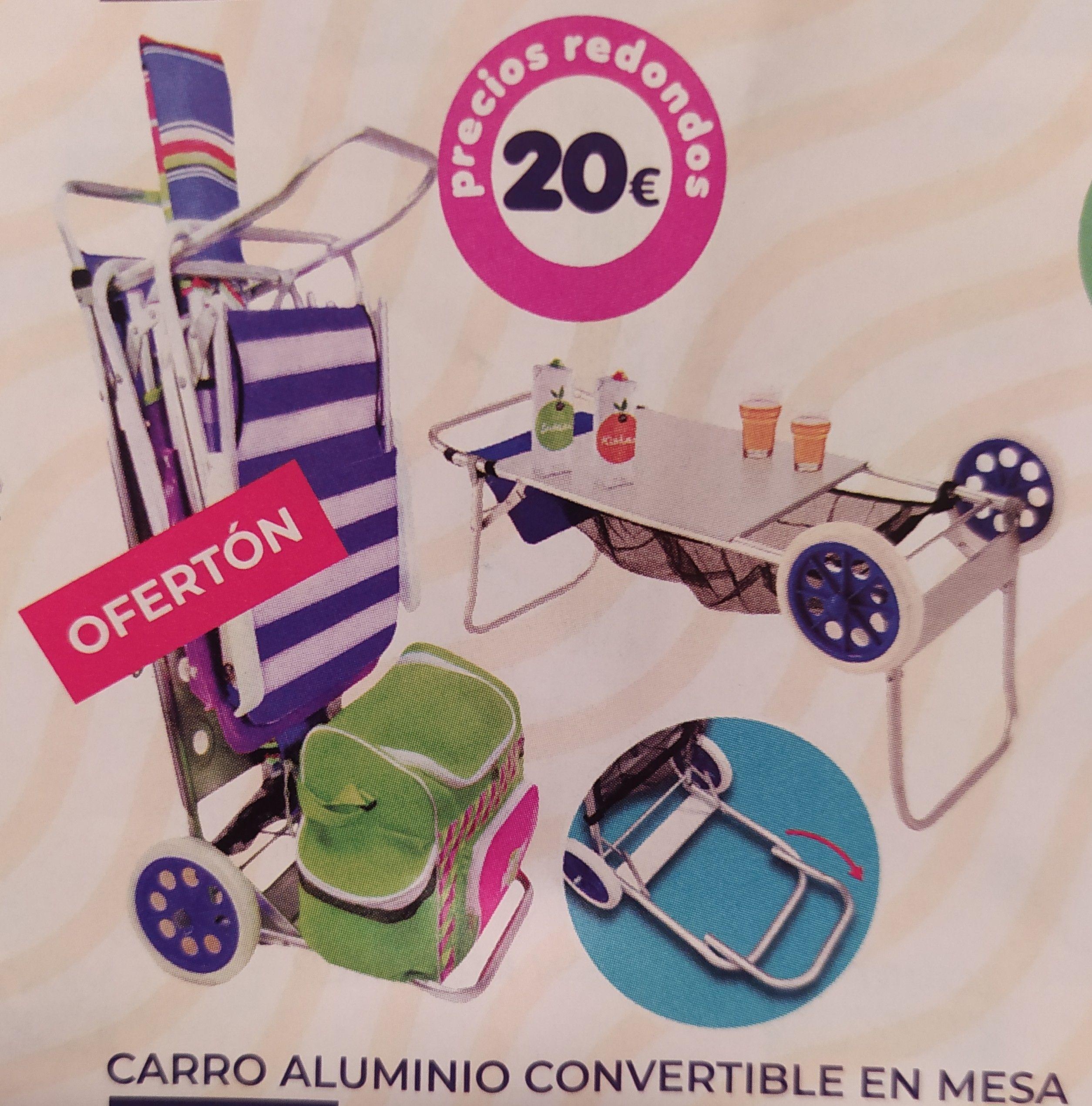 Carro de aluminio convertible en mesa para la playa