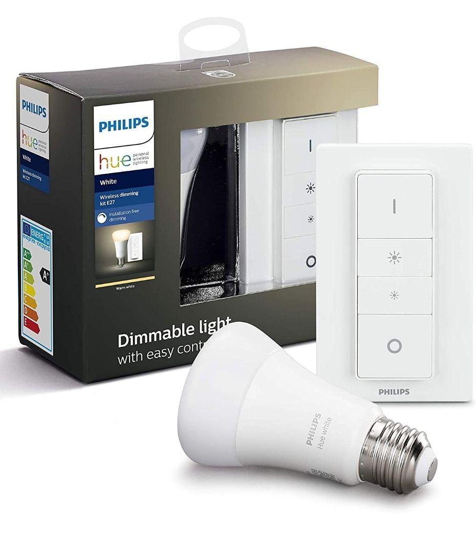 Philips Hue Bombilla Inteligente LED E27 con Mando Inalámbrico