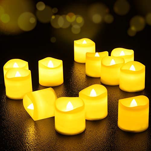 Velas de LED 12 Pcs, FOCHEA Velas Eléctricas sin Llama con Mando a distancia