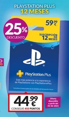 PlayStation Plus 1 año por 44,99 en GAME