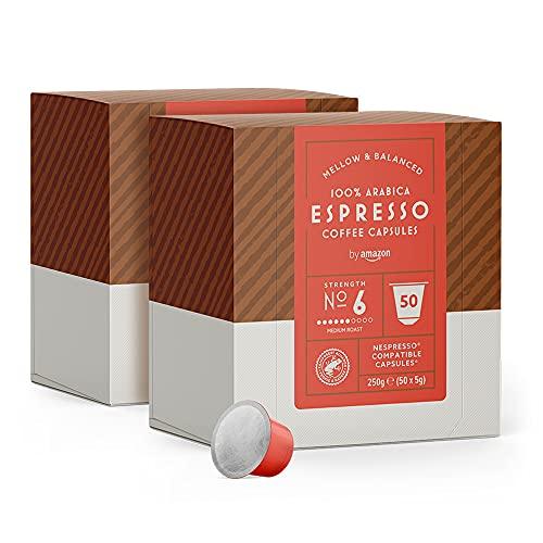 by Amazon 100 Cápsulas Espresso, compatibles con Nespresso