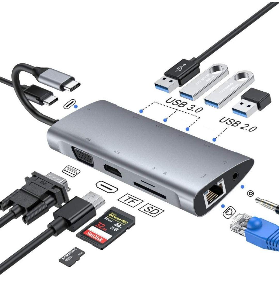Hub USB C, Adaptador Tipo C (11 puertos)