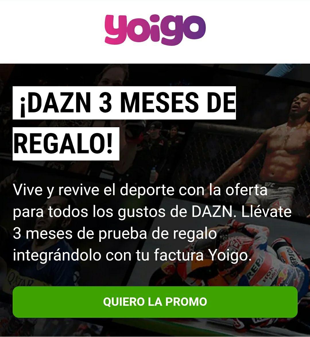 DAZN 3 meses gratis sin permanencia con Yoigo