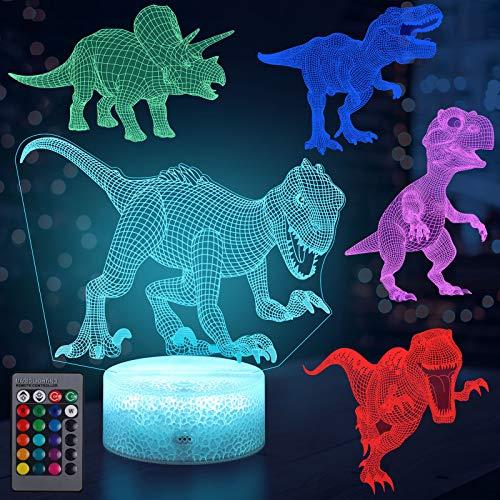 Lámpara Dinosaurio, 16 Cambio de Color y Mando a Distancia, USB Recargable.