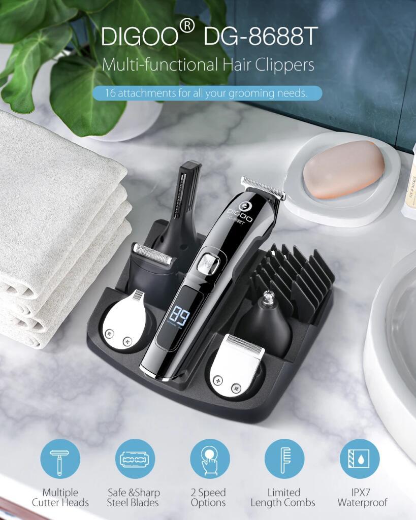 Cortadora de cabello inalámbrica DIGOO 16 en 1 pantalla LCD 600mAh USB recargable