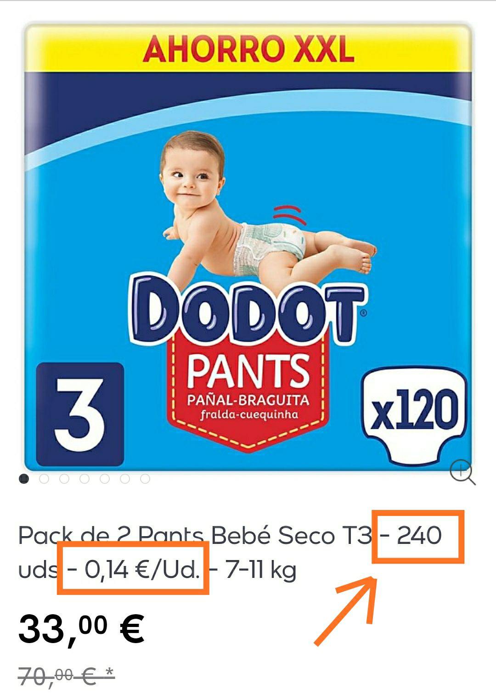 240 uds (2*120 pañales) Pants Dodot talla 3. A menos de 0,14€/ud