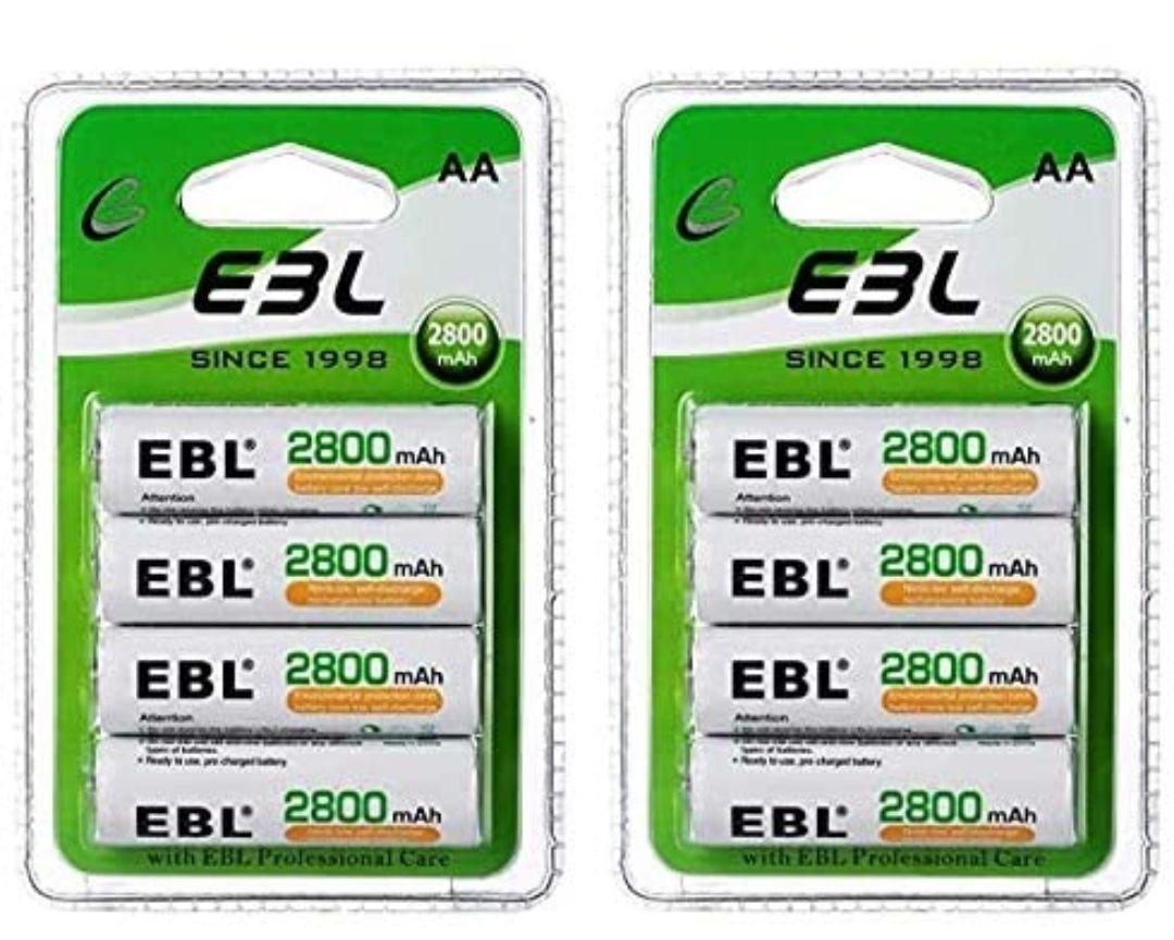 8 pilas recargables AA de 2800mAh EBL