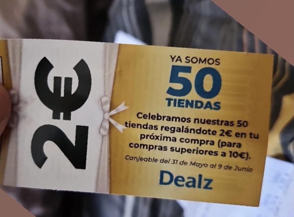 2€ de descuento en compras superiores a 10€ en tiendas Dealz.