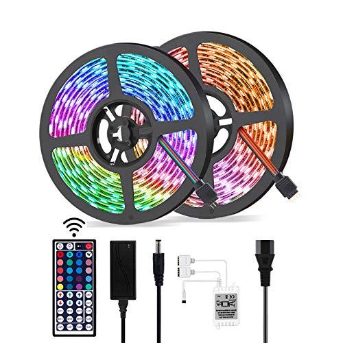 Pack de 2 Luces LED, Adhesiva, 20 Colores 12 Modos Tiras de Luz LED Impermeable.