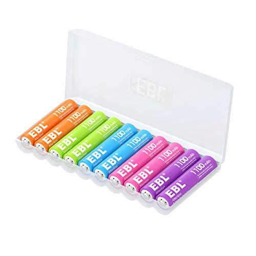 10 Pilas Recargables AAA 1100 EBL (color arcoiris)