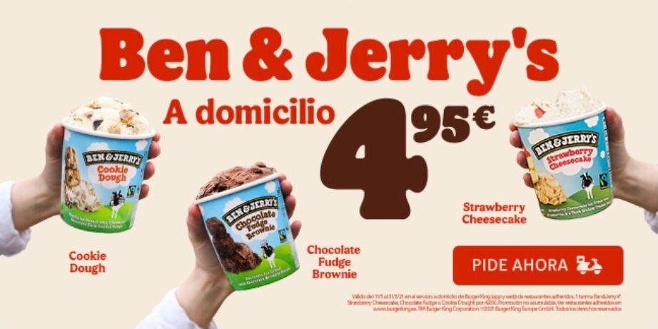 Tarrina de helado Ben&Jerry's por 4,95€ en pedidos en el servicio a domicilio de Burger King (App y web)