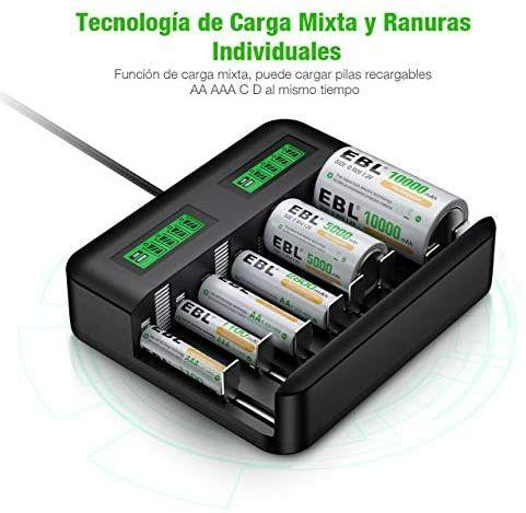 EBL Cargador Pilas AA/AAA/C/D Ni-MH, incluye 2 x Pilas C y 2 x Pilas D (19,99€ - 10€ al comprarlo junto a otro producto Store de EBL)