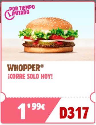 ¡Vuelve! WHOPPER a 1.99€ del 7 al 8 de junio