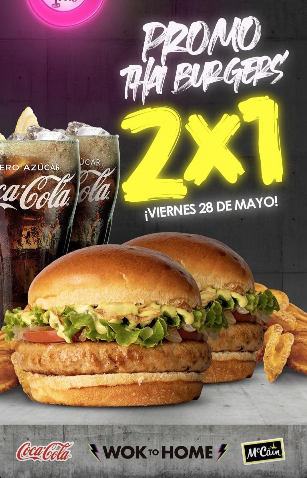 2x1 en hamburguesas,patatas y bebida SOLO HOY en Padthaiwok