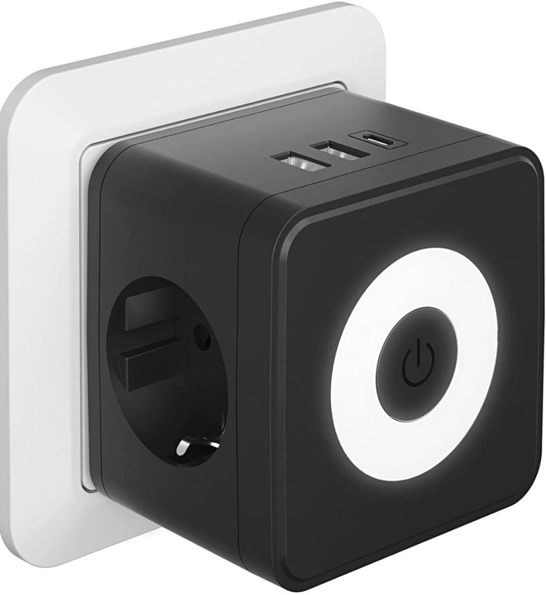 Enchufe 5 en 1 Cubo con 3 puertos USB + 2 tomas de corriente y luz indicadora