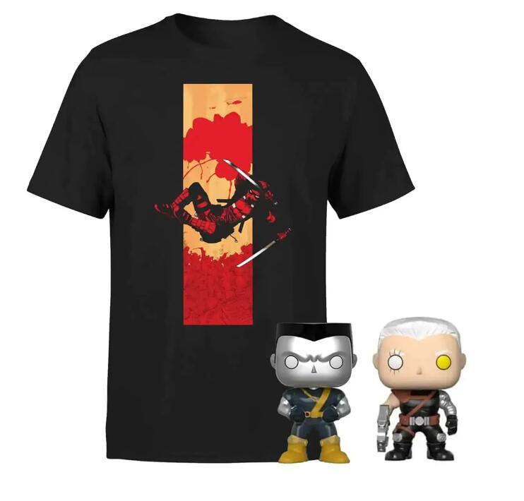 Camiseta Deadpool + 2 Funko POP! ( Cable (Marvel) & Colossus (X-Men) )