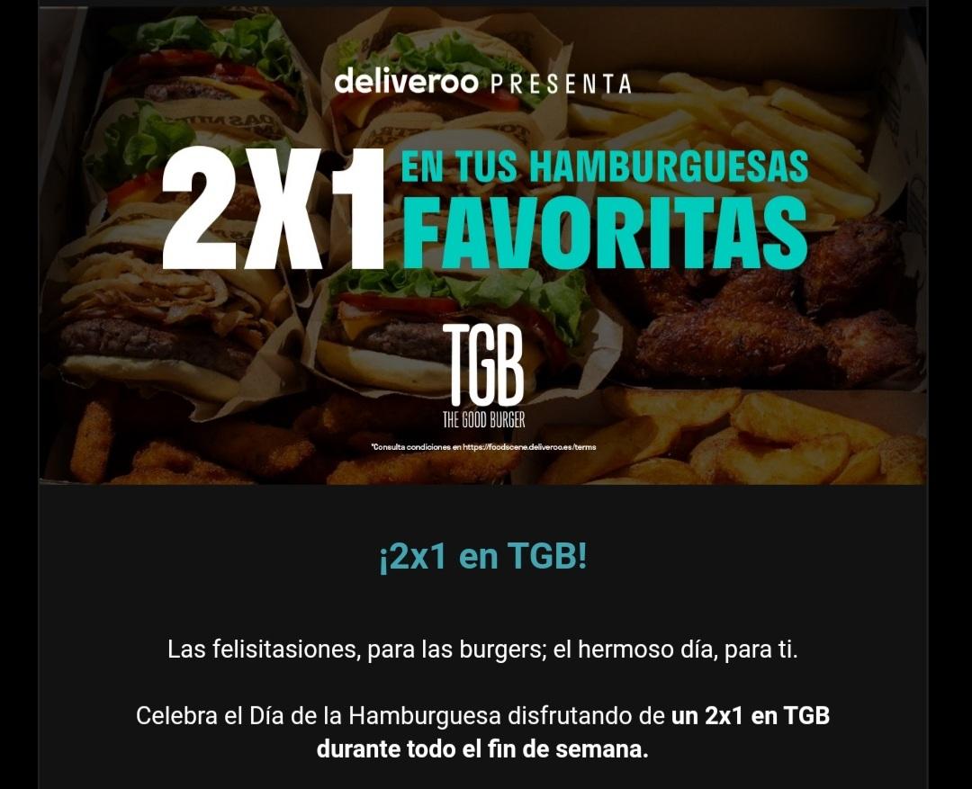 2x1 en TGB todo el fin de semana pidiendo en Deliveroo