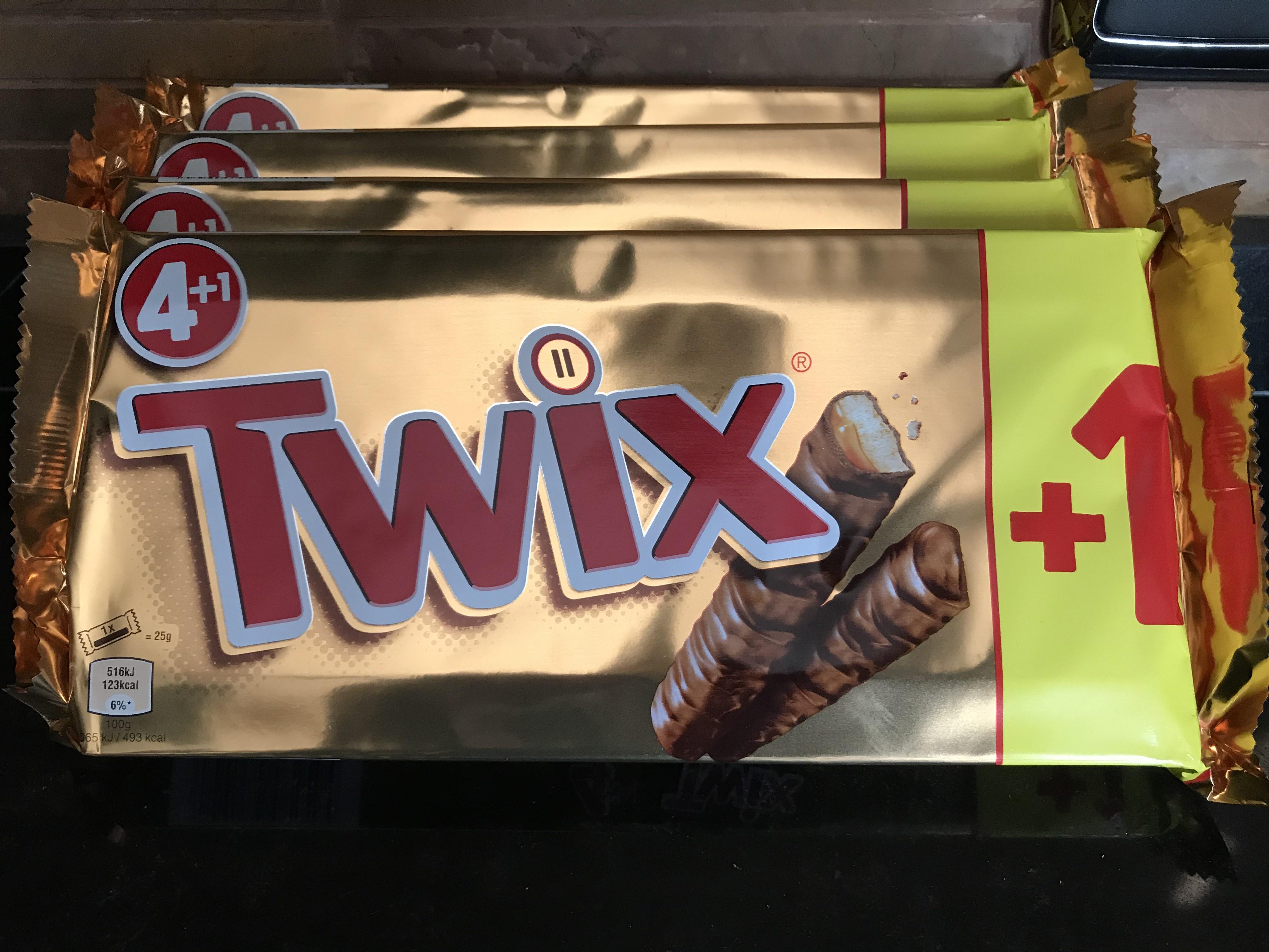 Twix 4+1 = 5 x (2 x 25g)= 250g en Dealz