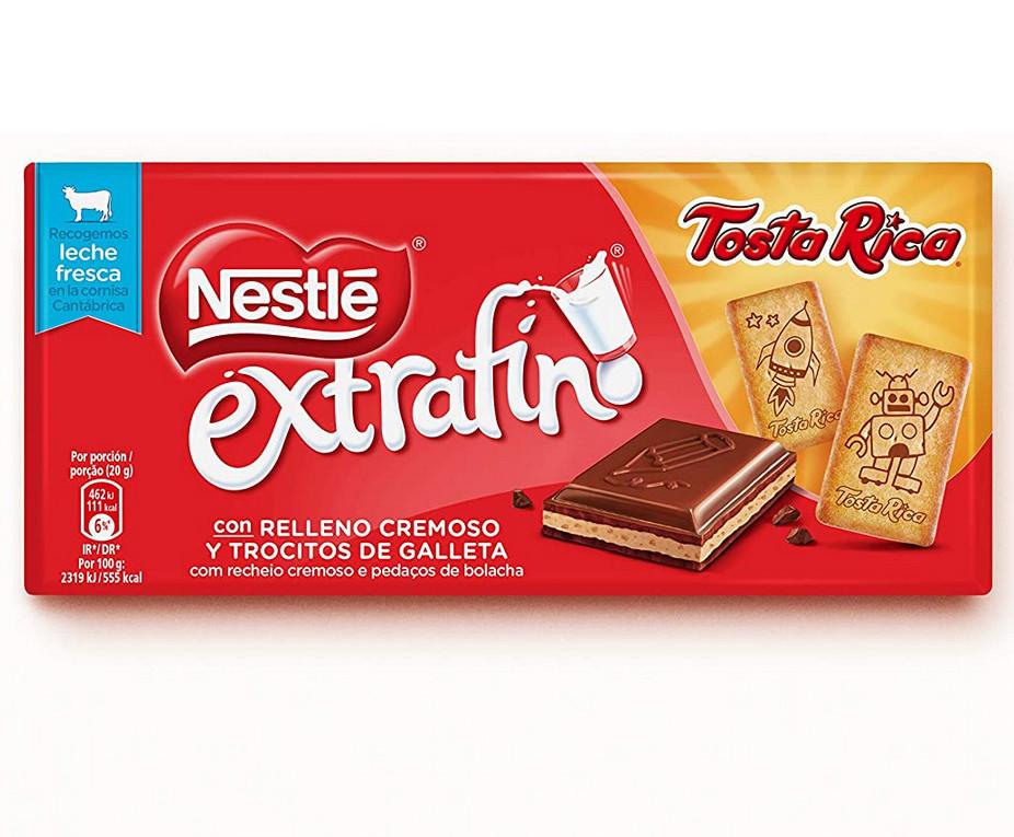 Tableta Chocolate Nestlé Extrafino con relleno cremoso y trocitos de galleta Tosta Rica - 120 grs.