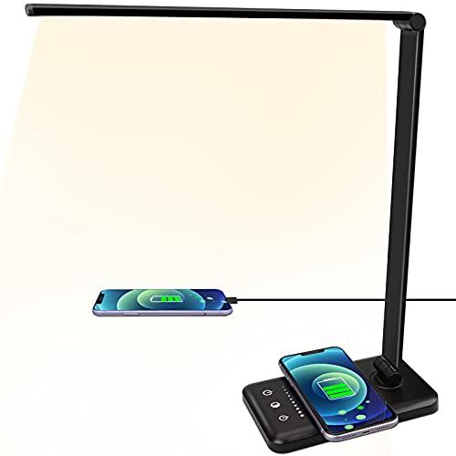 Lámpara LED con cargador inalámbrico (flash + código)