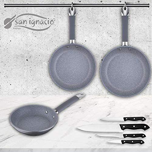 San Ignacio Premium SIP Set 3 sartenes + 4 Cuchillos, Aluminio Forjado, Multicolor